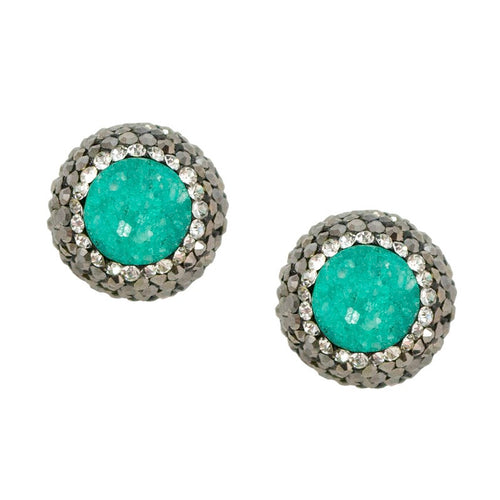 Sea Foam Green Druzy Post Earrings
