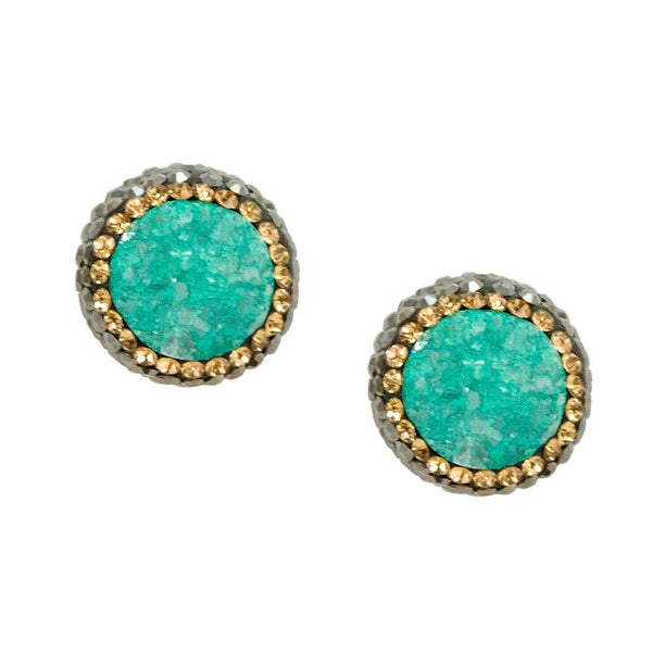 Sea Foam Green Druzy Post Earrings - Gold Outline