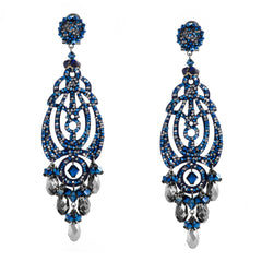 Midnight Blue Sparkling Drop Earrings by DUBLOS