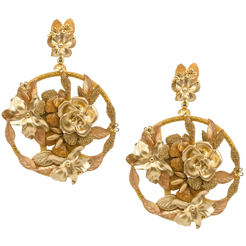 Gorgeous Golden Flower Pendant Earrings by DUBLOS