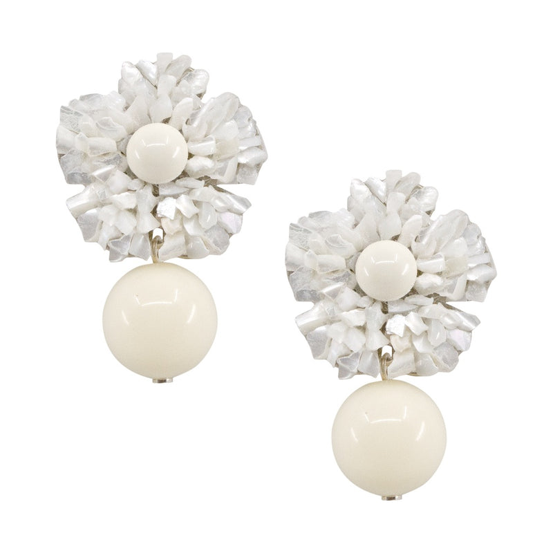 Delicate Mother of Pearl Floral Pendant Earrings by DUBLOS