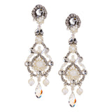 Mother of Pearl and Crystal Drop Earrings by DUBLOS