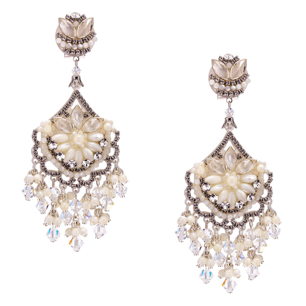 Mother of Pearl and Swarovski Pendant Earrings by DUBLOS
