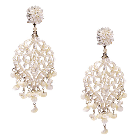 Dark Grey and Silver Crystal Chandelier Earrings by DUBLOS