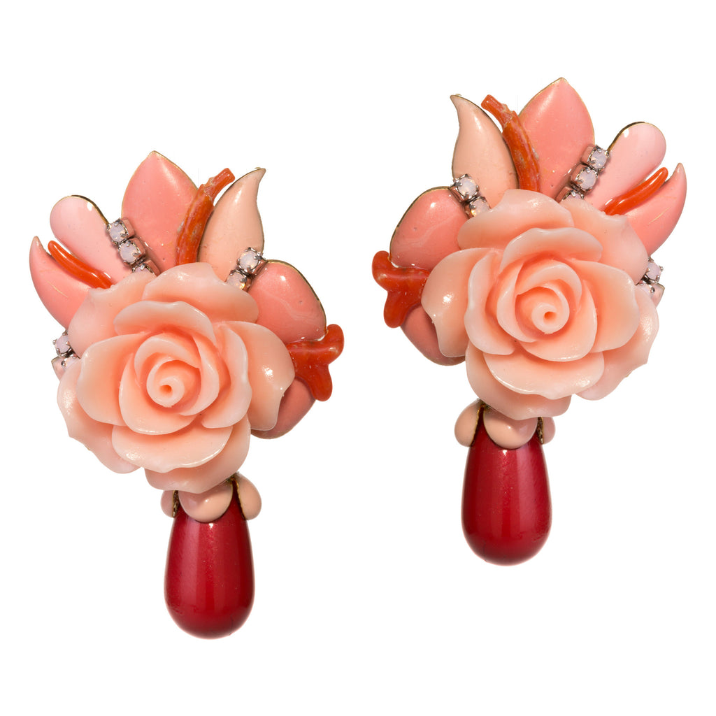 Rose Coral Earrings by DUBLOS