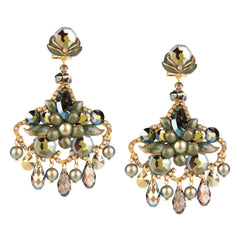 Golden Green Pendant Earrings by DUBLOS