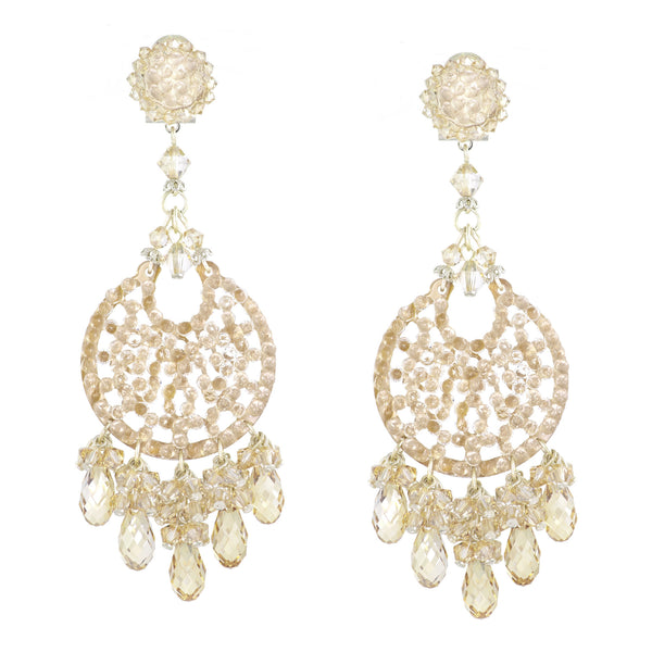 Café au Lait Sparkling Drop Earrings by DUBLOS