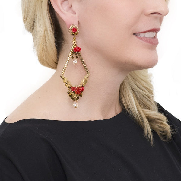 Golden and Coral Flower Pendant Earrings by DUBLOS