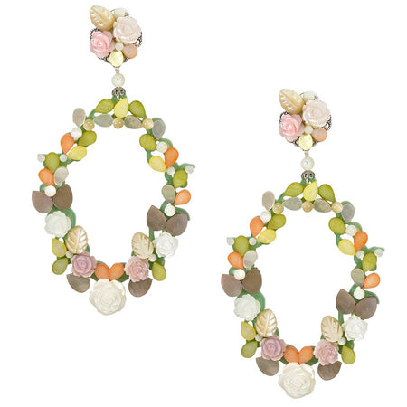 Cream and Cafe Multi-Colored Swarvoski Drop Earrings by DUBLOS