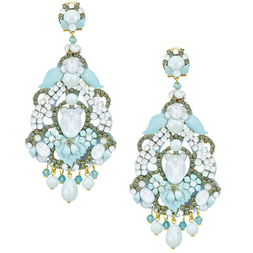 Elegant Ice Blue Sparkling Drop Earrings by DUBLOS