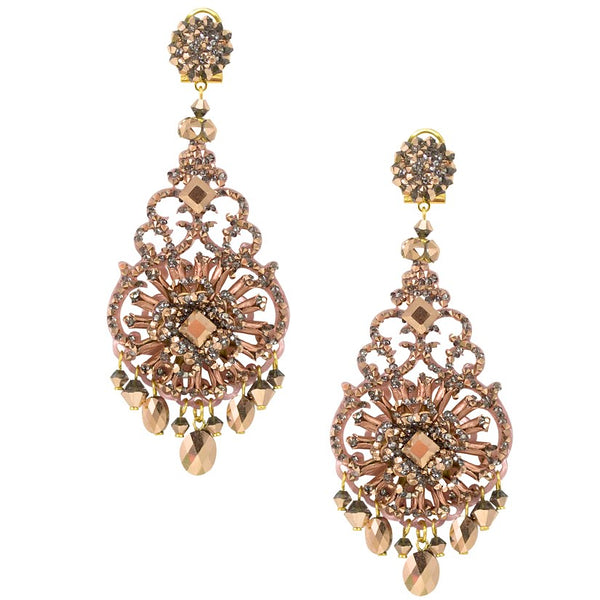Vintage Rose Sparkling Drop Earrings by DUBLOS