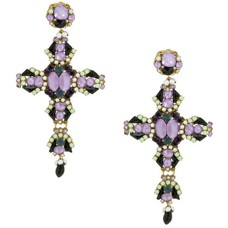 Flamenco Inspired Strass Pendant Earrings by DUBLOS