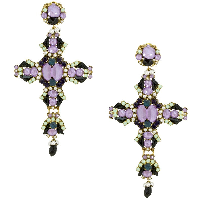 Statement Crystal Cross Earrings by DUBLOS