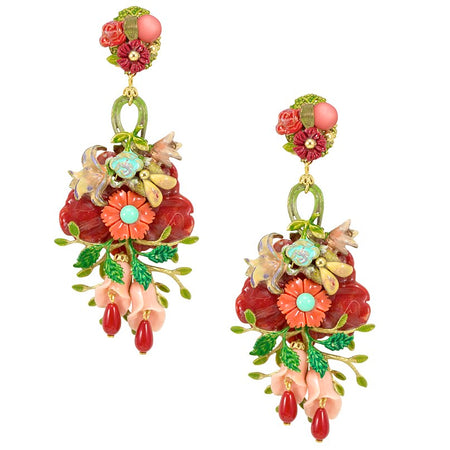 Drop Flower and Embroidered Heart Earrings