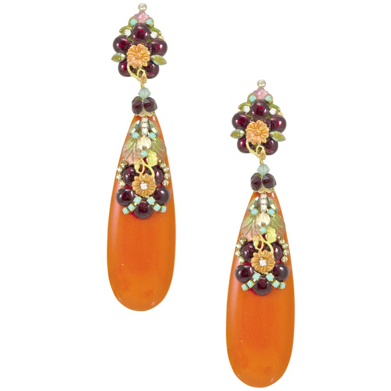 Tear Drop Orange Earrings with Intricate Floral Detail by DUBLOS