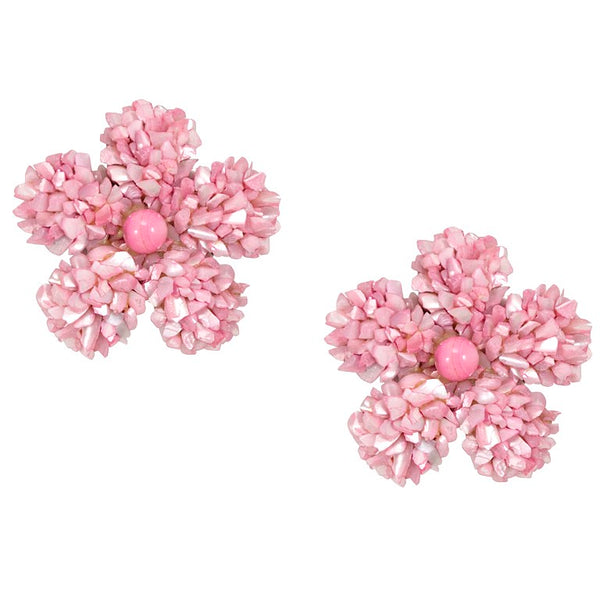 Pink Mother of Pearl Flower Earrings by DUBLOS