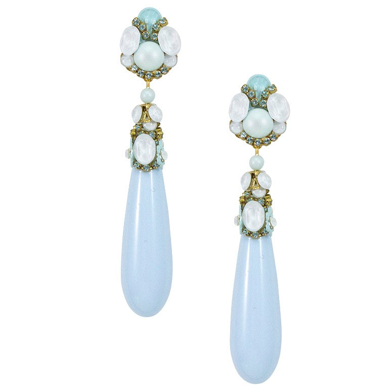 Ice Blue Tear Drop Earrings by DUBLOS