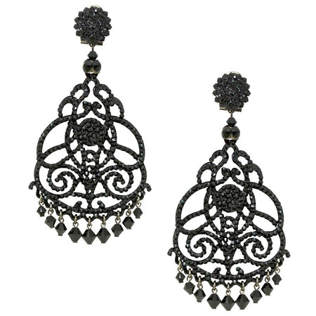 Black and White Sparkling Drop Earrings by DUBLOS