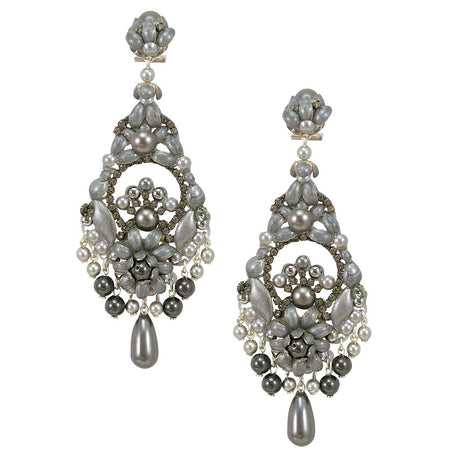 Dazzling Dark Grey and Silver Crystal Chandelier Earrings by DUBLOS