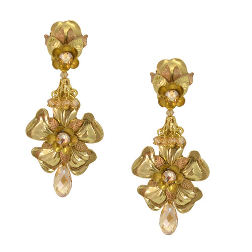 Delicate Golden Metal Flower Drop Earrings by DUBLOS