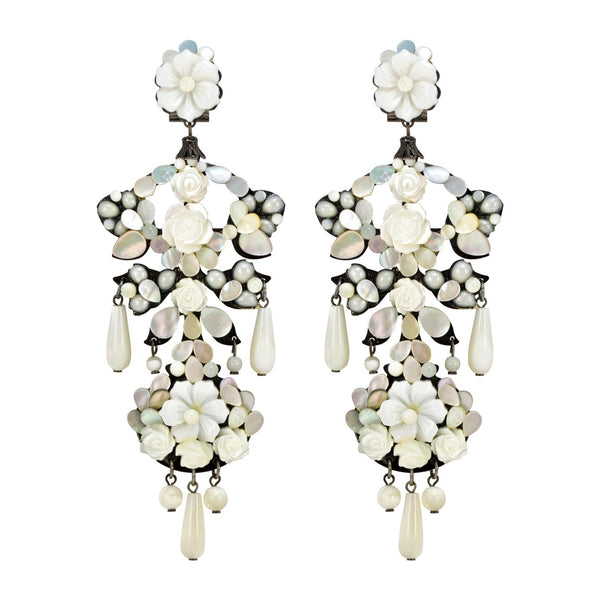 Mother of Pearl Rose Pendant Chandelier Earrings by DUBLOS