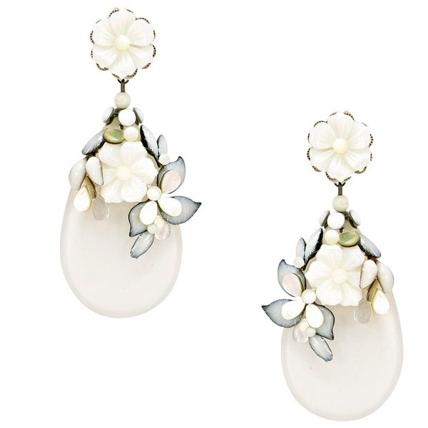 Mother of Pearl Floral Drop Pendant Earrings by DUBLOS