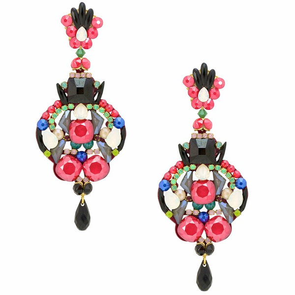 Statement Hot Pink Iridescent Drop Earrings by DUBLOS