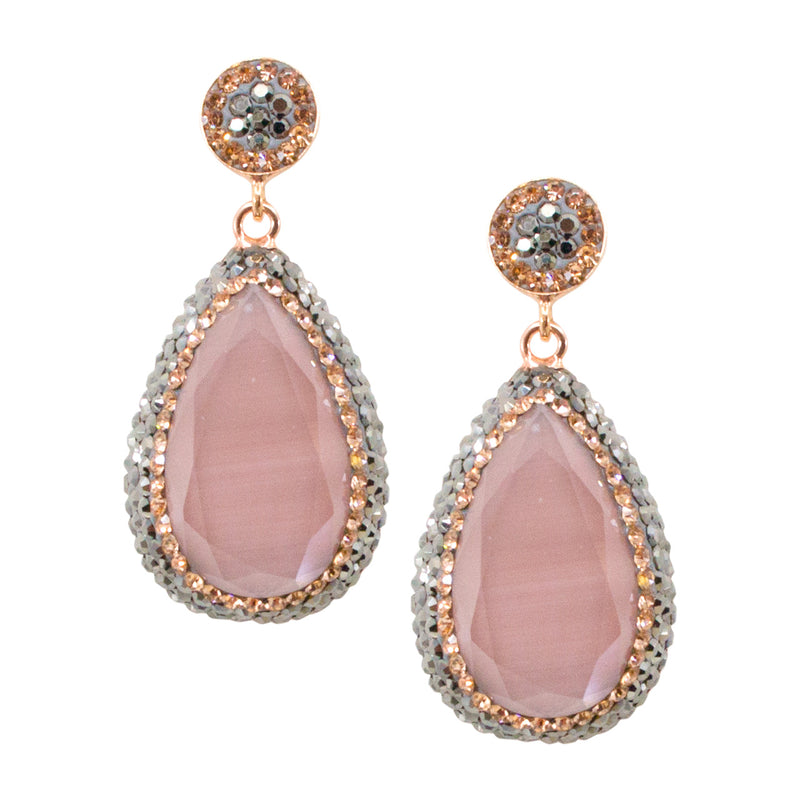 Elegant Dusty Rose Cat's Eye Drop Earrings