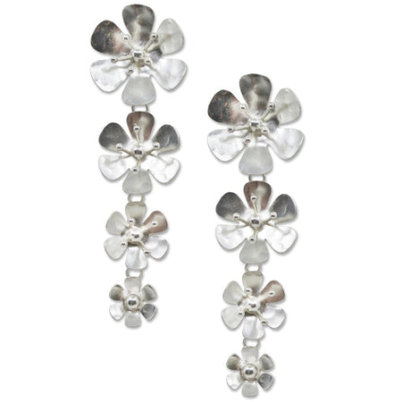 Butterfly and Flower Pearl Post Earrings by Eric et Lydie