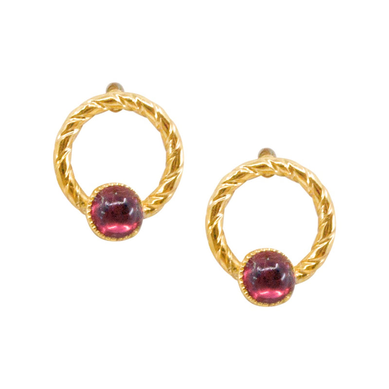 Elegant Small Garnet Post Earrings