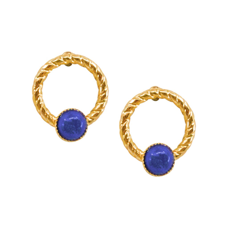 Elegant Small Lapis Lazuli Post Earrings