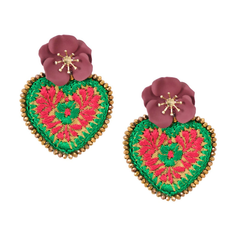 Embroidered Heart Mexican Earrings with Flower Detail - Red and Green