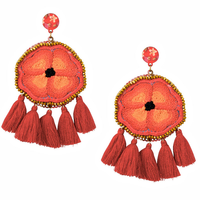 Embroidered and Tassel Mexican Earrings