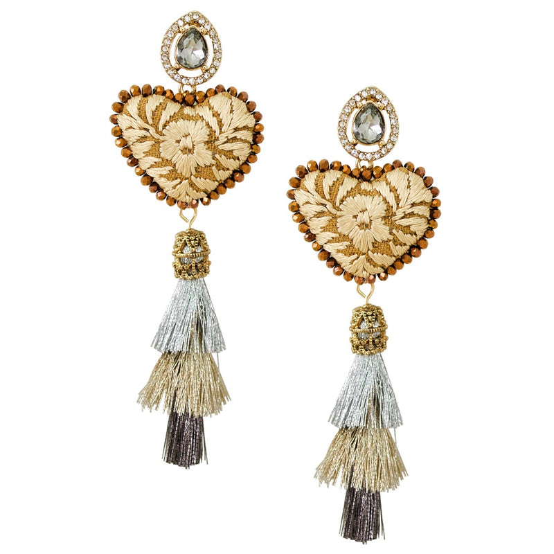 Embroidered Heart with Tiered Tassel Mexican Earrings - Beige