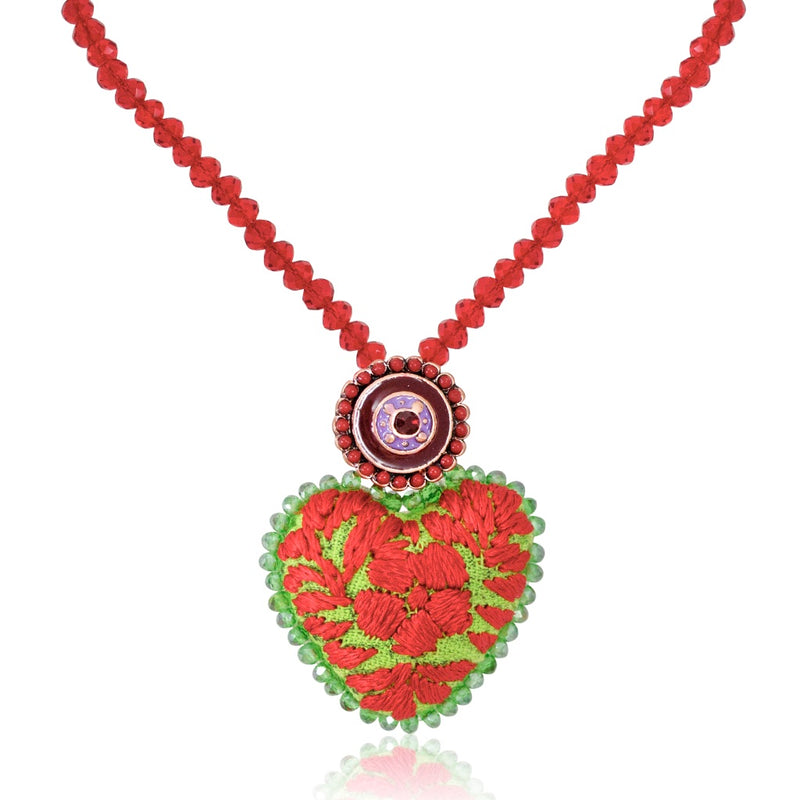 Embroidered Heart Mexican Drop Necklace - Red and Lime Green