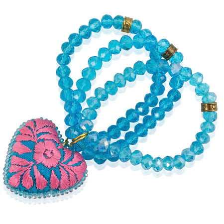 Stone Beads and Embroidered Heart Stretch Bracelet