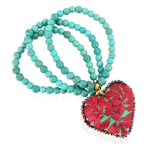 Turquoise Embroidered Heart Stretch Bracelet