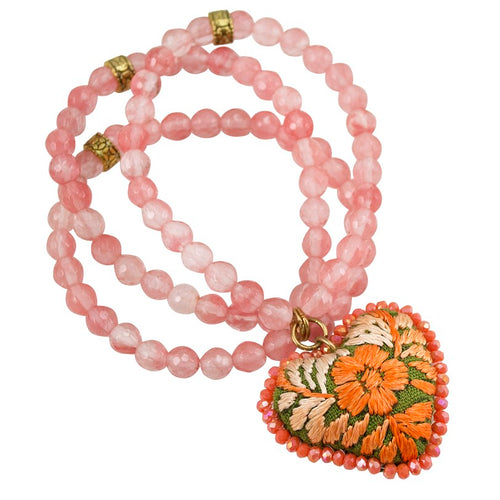 Orange Stone Beads and Embroidered Heart Stretch Bracelet