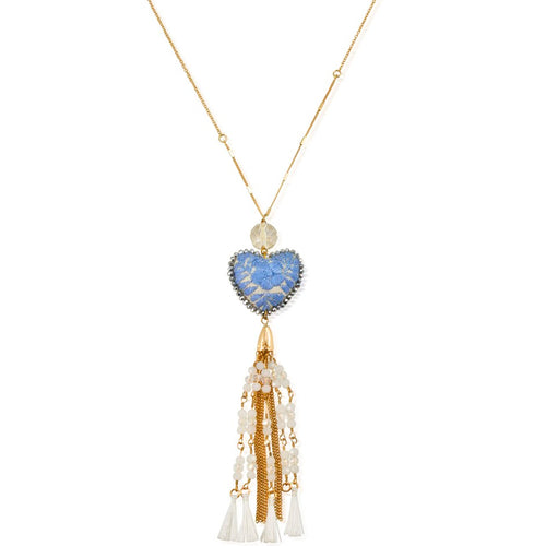 Long Embroidered Heart and Tassel Necklace - Light Blue