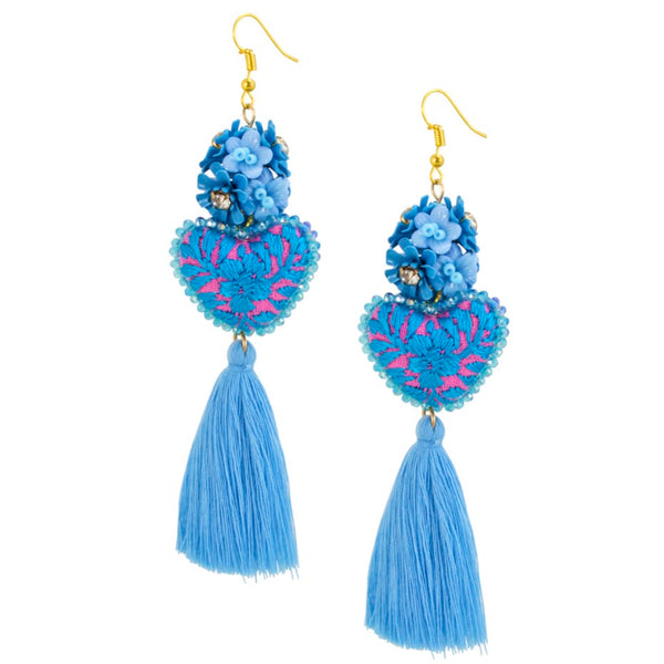Turquoise Blue Embroidered Heart Tassel Earrings
