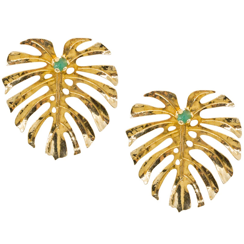 Golden Monstera Leaf Post Earrings with Raw Colombian Emeralds