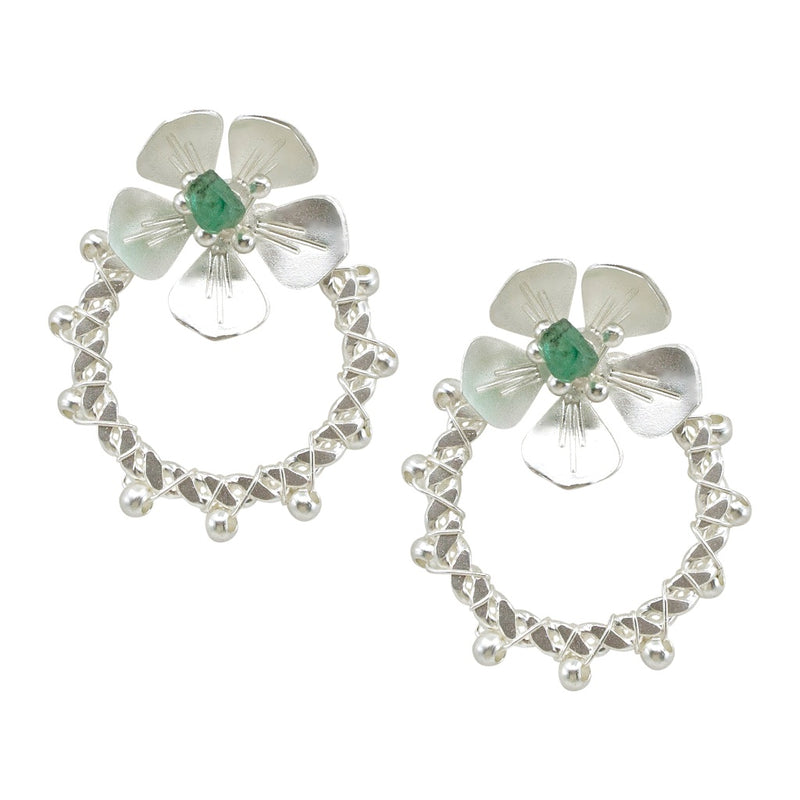 Flower Wreath Earrings with Raw Colombian Emeralds