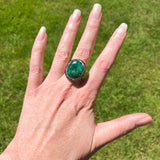 Polished Emerald Druzy Quartz Ring