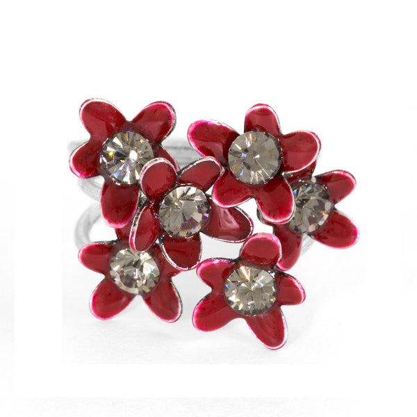 Red Floral Stackable Ring by Eric et Lydie