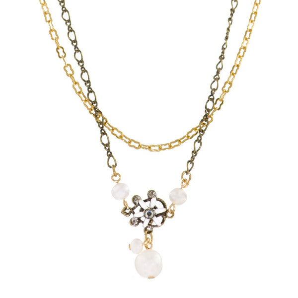 Flower and Pearl Necklace by Eric et Lydie