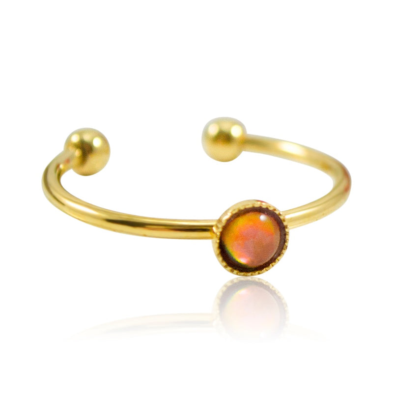 Mother of Pearl Stackable Ring by Eric et Lydie - Adjustable