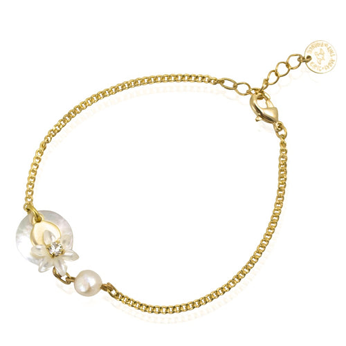 Mother of Pearl Flower and Gold Plated Silver Bracelet by Eric et Lydie