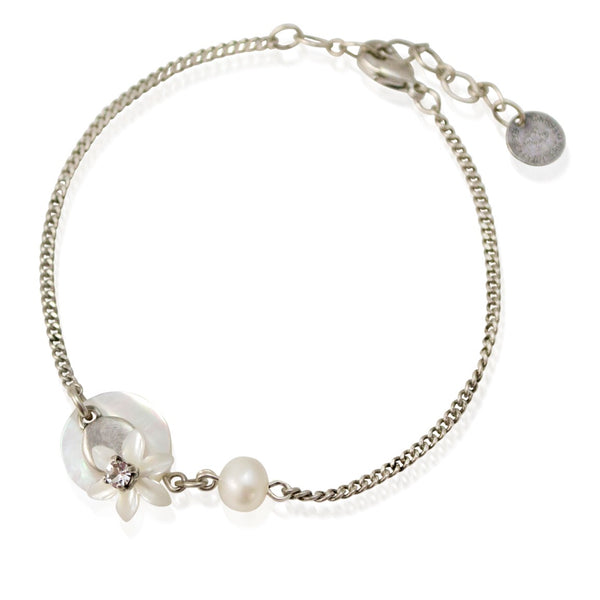 Mother of Pearl Flower and Silver Bracelet by Eric et Lydie
