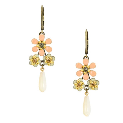 Peachy Flower Drop Earrings by Eric et Lydie