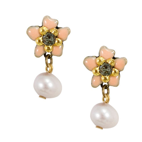 Daisy Pearl Drop Post Earrings by Eric et Lydie